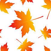 Colorful leaves in flat style, seamless pattern