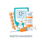 Diabetes management concept in flat style, vector