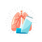 Pulmonary medication concept in flat style, vector