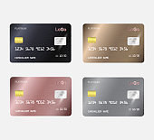 Set of Realistic detailed templates design for Debit card, Credit card.