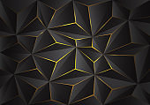 Abstract grey 3D triangle polygon pattern crack on yellow light design modern futuristic background texture vector illustration.