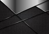 Abstract silver blank on dark grey circle mesh design modern luxury futuristic background vector illustration.