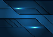 Abstract dark blue tone metallic design modern futuristic technology background vector illustration.
