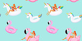 Summer pattern with cute girls in trendy swimsuits on inflatable swimming pools flamingos and unicorn. Vector seamless texture.