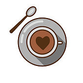 Coffee Cup with Heart and Spoon Icon