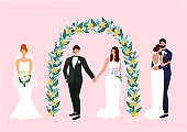 Collection of brides and grooms. Wedding couple in love at the ceremony. Beautiful vector illustration for greeting card, postcard, poster, banner, invitation.