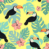 Trendy pattern with toucan and tropical leaves. Vector seamless texture.