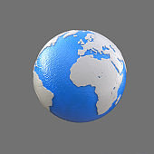 stylized blue and white globe, atlantic ocean, europe, africa