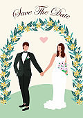 Wedding card with couple in love. Vector illustration.