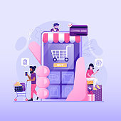People on Online Mobile Shopping Flat Concept
