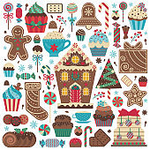 Christmas Gingerbread Cookies and Sweet Treats Set