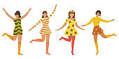 Vector vintage template with cute dancing girls in retro style. Can be used for banner, poster, card, postcard and printable.