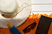 Beach accesories and digital tablet
