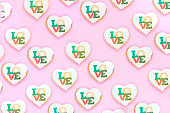 Valentine's heart cookies on pink background