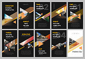Creative social networks stories design, vertical banner or flyer templates with triangles and triangular shapes on black background. Covers design templates for flyer, leaflet, brochure, presentation