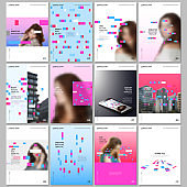 Creative brochure templates with colorful elements, rectangles, gradient backgrounds. Covers design templates for flyer, leaflet, brochure, report, presentation, advertising, magazine.
