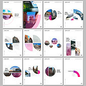 Minimal brochure templates with circles, colorful round elements on white background. Covers design templates for flyer, leaflet, brochure, report, presentation, advertising, magazine.