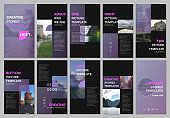 Creative social networks stories design, vertical banner or flyer templates with colorful purple gradient backgrounds. Covers design templates for flyer, leaflet, brochure, presentation, advertising.