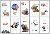Creative social networks stories design, vertical banner or flyer templates with hexagones and hexagonal shapes on white background. Covers design templates for flyer, leaflet, brochure, presentation