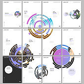 Minimal brochure templates with pink colorful circle elements, round shapes on white background. Covers design templates for flyer, leaflet, brochure, report, presentation, advertising, magazine.