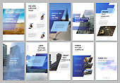 Creative social networks stories design, vertical banner or flyer templates with blue colored colorful gradient geometric background. Covers design templates for flyer, leaflet, brochure, presentation