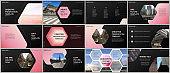 Minimal presentations design, portfolio vector templates with hexagonal design background, hexagon style pattern. Multipurpose template for presentation slide, flyer leaflet, brochure cover, report.