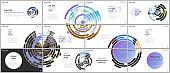 Minimal presentations design, portfolio vector templates with blue colorful circle elements on white background. Multipurpose template for presentation slide, flyer leaflet, brochure cover, report.