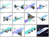 Minimal brochure templates with colorful triangles, triangular shapes. Covers design templates for square flyer, brochure, presentation, social media advertising, online seminar, digital education.