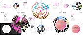 Minimal presentations design, portfolio vector templates with pink colorful circle elements on white background. Multipurpose template for presentation slide, flyer leaflet, brochure cover, report.