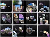 Minimal brochure templates with violet color circles, round shapes. Travel covers design templates for square flyer, leaflet, brochure, report, presentation, blog, advertising, magazine for blogging.