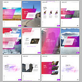 Creative brochure templates with colorful gradient geometric background. Red colored design. Covers design templates for flyer, leaflet, brochure, report, presentation, advertising, magazine.