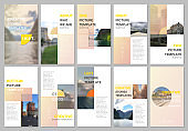 Creative social networks stories design, vertical banner or flyer templates with colorful yellow gradient backgrounds. Covers design templates for flyer, leaflet, brochure, presentation, advertising.