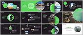 Minimal presentations design, portfolio vector templates with green colorful circle elements on black background. Multipurpose template for presentation slide, flyer leaflet, brochure cover, report.