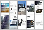 Creative social networks stories design, vertical banner or flyer templates with gray colored colorful gradient geometric background. Covers design templates for flyer, leaflet, brochure, presentation