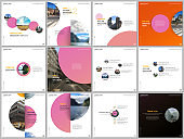 Minimal brochure templates colorful circles, round shapes. Covers design templates for square flyer, brochure, presentation, social media advertising, online seminar, digital education.