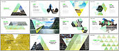 Minimal presentations design, portfolio vector templates with triangular design background, triangle style pattern. Multipurpose template for presentation slide, flyer leaflet, brochure cover, report.