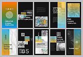 Creative social networks stories design, vertical banner or flyer templates with colorful gradient backgrounds. Covers design templates for flyer, leaflet, brochure, presentation, advertising.