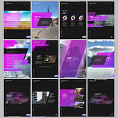 Creative brochure templates with colorful gradient geometric background. Pink colored design. Covers design templates for flyer, leaflet, brochure, report, presentation, advertising, magazine.