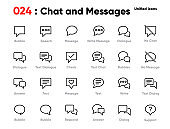 Set of Speech and Talk Line Unified Icons. Includes Bubble, Speak, Chat, Balloon, Message and other. Editable Stroke.
