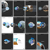 Minimal brochure templates with circle elements on black background. Templates for flyer, leaflet, brochure, report, presentation, advertising.