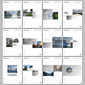 Minimal brochure templates with colorful gradient rectangles and square shapes on white background. Covers design templates for flyer, leaflet, brochure, report, presentation, advertising, magazine.
