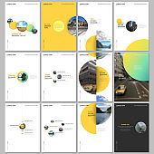 Minimal brochure templates with colorful gradient shapes, circles, round elements on white background. Covers design templates for flyer, leaflet, brochure, report, presentation, advertising, magazine