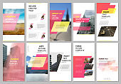 Creative social networks stories design, vertical banner or flyer templates with red colored colorful gradient geometric background. Covers design templates for flyer, leaflet, brochure, presentation
