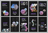 Creative social networks stories design, vertical banner or flyer templates with hexagones and hexagonal shapes on black background. Covers design templates for flyer, leaflet, brochure, presentation