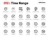 Set of Time Range Line Unified Icons. Includes Calendar, Meeting, Time Lapse, Clock Face and other. Editable Stroke.