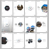 Minimal brochure templates with hexagons and hexagonal elements on white background. Covers design templates for flyer, leaflet, brochure, report, presentation, advertising, magazine.