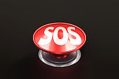 Sos red round push button. SOS Emergency Alarm. Safety Concept. Danger Push. 3d illustration