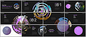 Minimal presentations design, portfolio vector templates with colorful purple circle elements on black background. Multipurpose template for presentation slide, flyer leaflet, brochure cover, report.