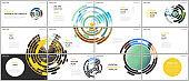 Minimal presentations design, portfolio vector templates with green colorful circle elements on white background. Multipurpose template for presentation slide, flyer leaflet, brochure cover, report.