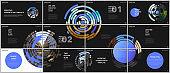 Minimal presentations design, portfolio vector templates with colorful circle blue elements on black background. Multipurpose template for presentation slide, flyer leaflet, brochure cover, report.